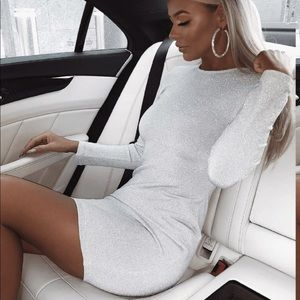 Dresses & Skirts - Catwalk Connection long sleeve silver glitter dres